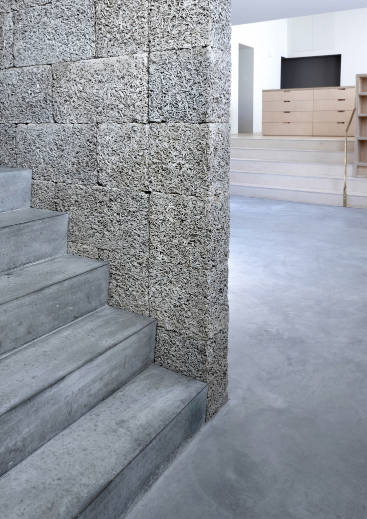 The stair wall is made of dry-stacked Durisol Wood-Cement Walling Units.