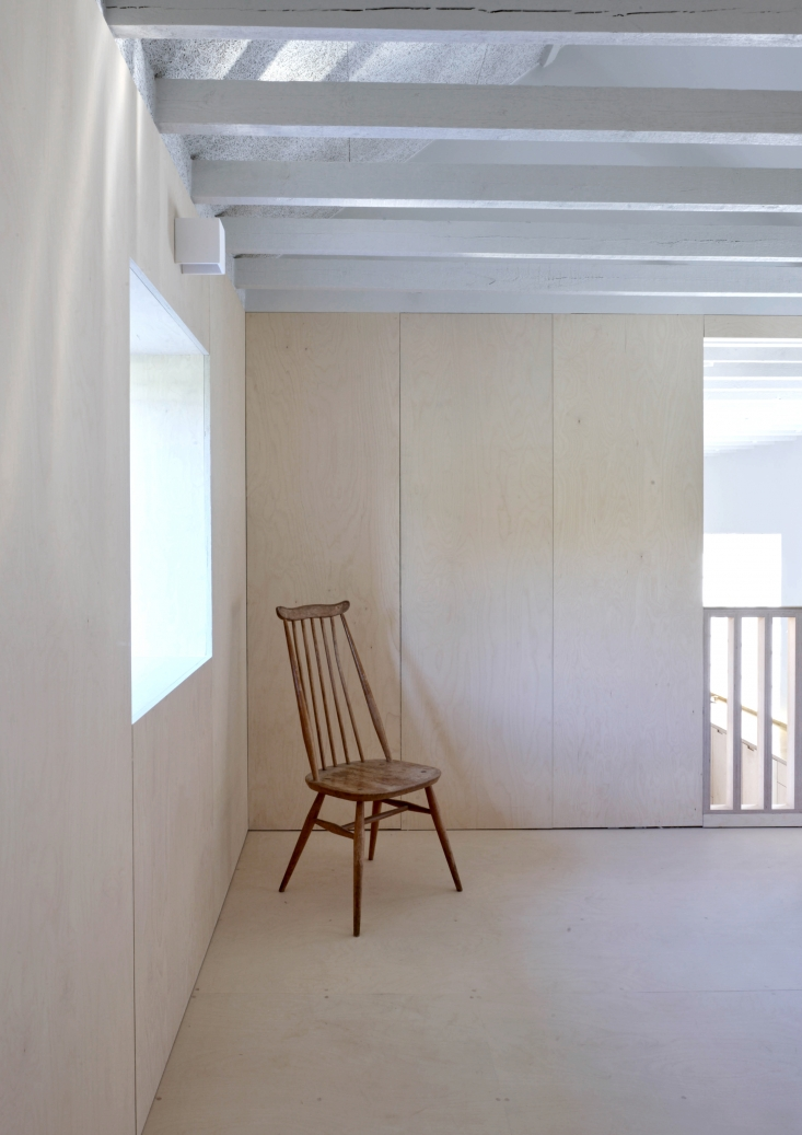 The all-plywood upstairs bedroom. To source your own modern Windsor chair, see 10 Easy Pieces: The Windsor Chair Revisited.