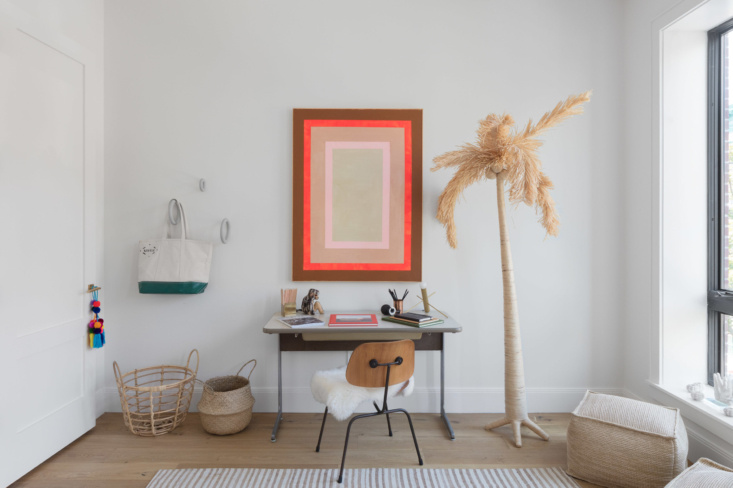 A playful teen room in Park Slope's Park Court Townhomes. The Raffia Palm, currently marked down from $120 to $60, is from Jamali Garden in NYC's flower district, where the Hoveys source most of their plant pots and baskets.