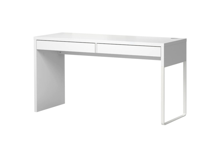 The Micke Desk in white, with its stripped-down look, is similar to the custom built-in desk by August and Yun; $99 at Ikea.