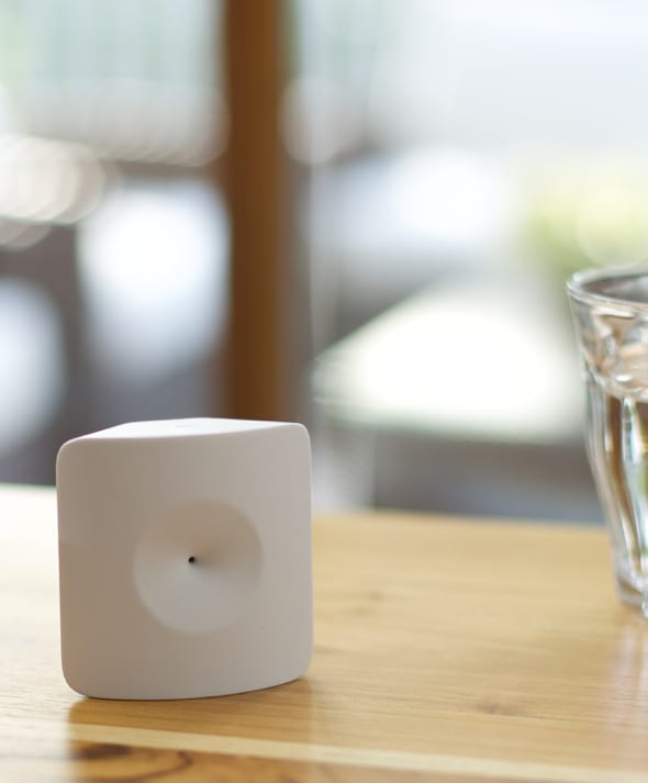 The Glassbreak Sensor (shown) is ideal for rooms with multiple windows and sliding doors, and it knows the difference between a smashed window and a smashed plate.